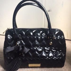 Betsey Johnson black patent satchel
